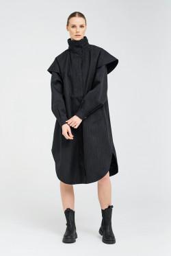 Tyfon coat black tweed