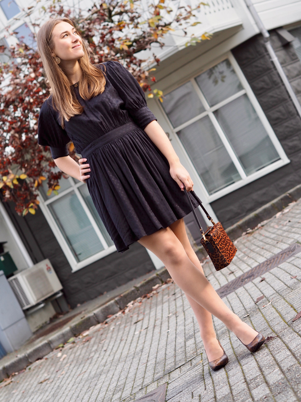 Jacquard Mini Dress Black byTiMo