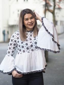 Fleur anglaise blouse white