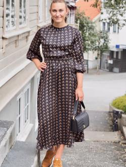 Satin midi dress japanese dots