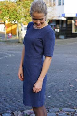 Herringbone jersey dress persian blue