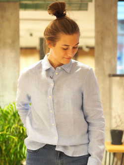 Linen chambray shirt capri blue
