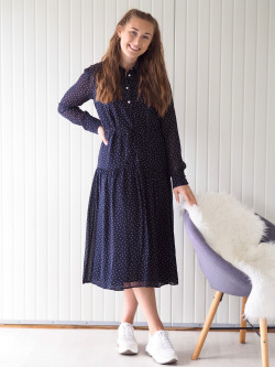 French dot chiffon dress evening blue