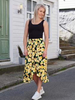 Oriental print skirtm flowerhead