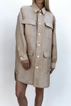 Vinnie shirt dress camel melange