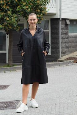 Monique leather dress black
