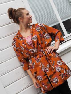 Jacket 3/4s mocha blossom print