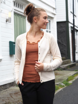 Cardigan is whisper beige