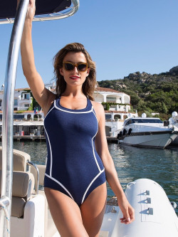 Lux swimsuit navy-white